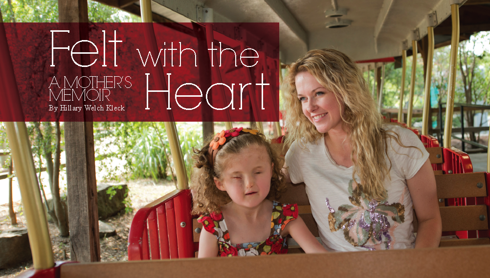 Felt with the Heart, A mother's memoir by Hillary Welch Kleck. pic of little girl and mom on zoo train ride